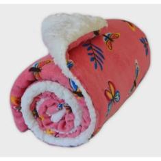 Imagem de Coberdrom de Bebê Dupla Face Manta Soft Rosê e Sherpa Palha