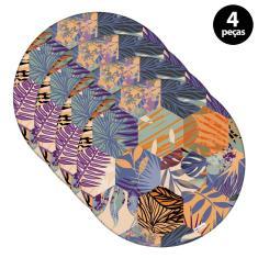 Imagem de Sousplat Mdecore Floral 32x32cm Colorido 4pçs