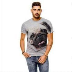 Imagem de Camiseta Cachorro Pug Bege  Masculina