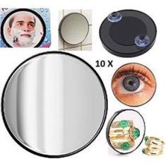 Imagem de Espelho Lente Aumento Zoom 10x Maquiagem Ventosa Barba 9cm