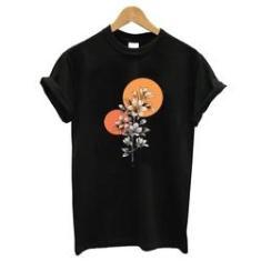 Imagem de Blusa baby look camiseta  algodao orquideas laranja