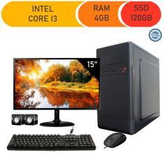 Imagem de Computador Completo Corporate I3 4Gb 120Gb Ssd Dvdrw Monitor 15