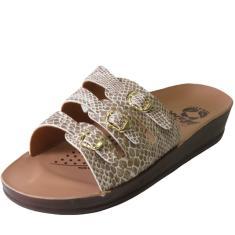 Imagem de Chinelo Ortopédico Rossi Shoes Feminino 3 Fivelas Cobra