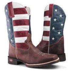 Imagem de Bota Texana Country Bandeira Capelli Boots USA em Couro com Bico Quadrado Masculina