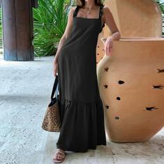 Imagem de Vestido longo feminino com alça espaguete vestido longo babado casual solto vestido maxi plus size  2XL