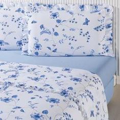 Imagem de Jogo de Cama Queen Blue Flower Percal 180 Fios 4 Peças - Casa & Conforto