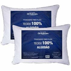 Imagem de Kit 02 Travesseiros Fiber Flock Luxo Perfil Alto 100% Algodão - Ortobom