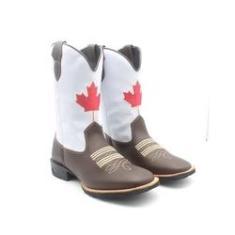Imagem de Bota Country Texana Masculina Bico Quadrado em Couro Bandeira Canada Café