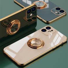 Imagem de Capa luxuosa galvanizada de silicone, com anel de metal liso, para iphone 12 11 pro xs max mini se x