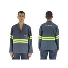 Imagem de Camisa Brim Manga Longa Petroleo Com Faixa Refletiva