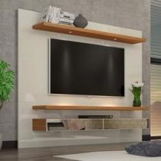 """Imagem de Painel TV 65"""" Suspenso 2,20m com Luzes Led e Espelhos 100% MDF TB108E Dalla Costa"""
