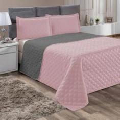 Imagem de Kit Enxoval Jogo de cama Roma 3pçs Dupla Face Rosê e  Cotex