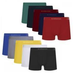 Imagem de Cueca Boxer Selene Sem Costura Kit com 10