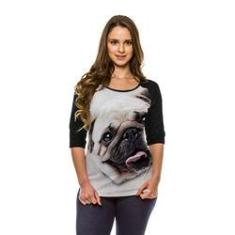 Imagem de Camiseta Raglan Cachorro Pug Bege Manga ¾