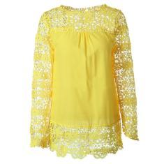 Imagem de Blusa feminina de renda de chiffon de flor oca outono feminina manga longa tops camisas femininas