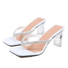 Imagem de GATUXUS Sandália feminina sexy transparente salto alto grosso sandália bico quadrado chinelos confortáveis mule sandálias, , 9