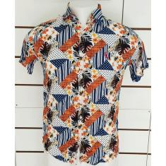 Imagem de Camisa havaiana Floral Praia verao Rayon  laranja