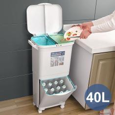 Imagem de Latas de lixo de 40L grandes camadas duplas Lixeira de cozinha Armazenamento Lixeiras verticais com suporte para saco de lixo com roda Reciclável