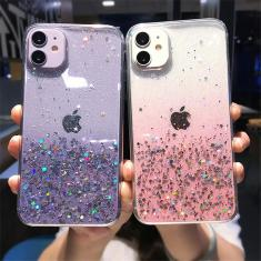 Imagem de Capa de telefone transparente glitter para iphone 12 pro 11 pro max xs max xr x 7 8 plus 12 mini se