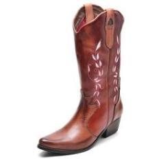 Imagem de Bota Country Feminina Bico Fino Top Franca Shoes Mel / Conhaque