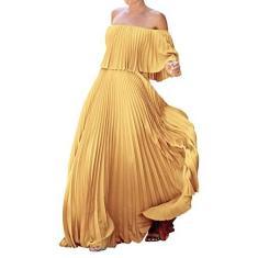 Imagem de Metcuento Vestido longo feminino casual com babado em camadas com babado para maternidade