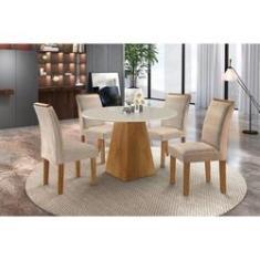 Imagem de Sala de Jantar Isabela Mesa Redonda ypê tampo Off White 4 Cadeiras Suede - Cel Móveis