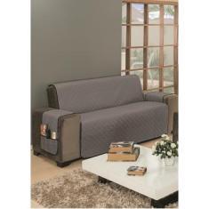 Capa Para Sofa 3 Lugares Dupla Face Impermeável Cinza Preto