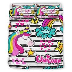 Imagem de CUCUDAI Edredom de 3 peças, capa de cama King Unicorn estampada, conjunto de cama de microfibra leve com 2 fronhas correspondentes,  167,6 x 228,6 cm