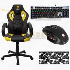 Imagem de Kit Cadeira Gamer Teclado Mecânico Mouse Rgb e Mousepad