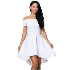 Imagem de Findci Vestido feminino moderno com ombro de fora, manga curta, bainha assimétrica, vestido para coquetel e festa, , XXG