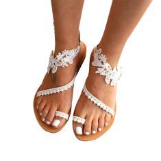 Imagem de Dheera Sandálias femininas de verão estilo retrô boêmio, sandálias femininas de couro sintético e camurça, sandálias femininas casuais com estampa floral, sandálias romanas de bico aberto para o verão