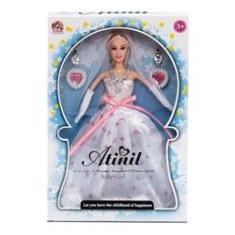 Imagem de Boneca Tipo Barbie Com Vestido De Noiva Com Par De Brincos