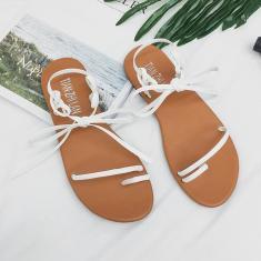 Imagem de Sandálias femininas de verão, salto plano aberto, sandálias com alça cruzada e sapatos casuais