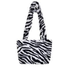 Imagem de TENDYCOCO 1pcs Bolsa de Ombro Listrada de Zebra Elegante Bolsa de Pelúcia Bolsa Crossbody Feminino