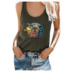 Imagem de Camiseta regata feminina com estampa de lua e sol, gola em U e manga curta para o verão Plus Size Blous, Verde militar, M