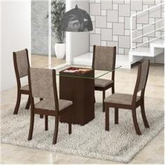 Imagem de Mesa de Jantar com 4 Cadeiras Viero Via Choco/Canela