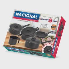 Imagem de Jogo de Panelas  Nacional Alumínio 5 peças Antiaderente Teflon