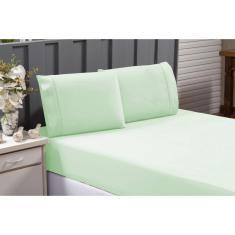 Imagem de Kit Jogo de Lençol Percal 200 Fios Cama Casal Queem Com Elástico 100% Algodão Excelente Qualidade Verde
