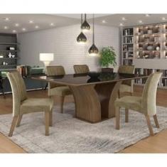 Imagem de Conjunto Sala de Jantar Mesa Tampo MDF Vidro 6 Cadeiras Leblon Tik Plus Espresso Móveis Castanho/Tampo