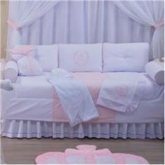 Imagem de Kit Bicama Glamour 100% Algodão Enxoval Bebê 06 Peças - Realeza