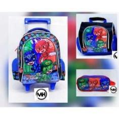 Imagem de Kit Mochila De Rodinha Escolar Infantil P Super Kids 3itens
