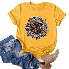 Imagem de STKOOBQ Camiseta regata feminina, girassol, linda estampa de verão, gola redonda, manga curta, túnica casual, , M