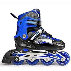 Imagem de PLAYH Patins em linha para adultos, patins de tamanho ajustável, patins infantis para ambientes externos, meninos com rodas piscantes (cor: , tamanho: M (32/37))