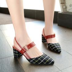Imagem de Moda pontiaguda grossa com sandálias femininas sandálias xadrez femininas