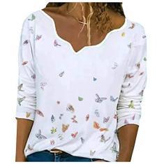 Imagem de Camisetas femininas casuais com estampa de borboleta  e gola com babados e manga comprida, B, M