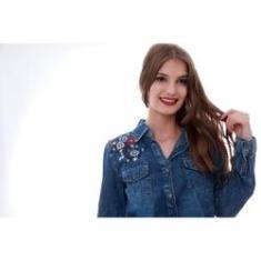 Imagem de Camisa Jeans Feminina Lavar Bordado Primaveva Importado
