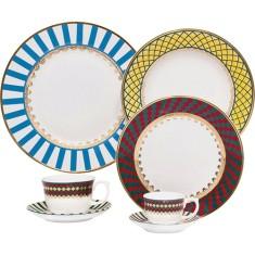 Aparelho de Jantar Redondo de Porcelana 42 peças - Flamingo São Basílio Oxford Porcelanas