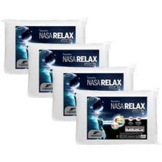 Imagem de Travesseiros Fibrasca Poliuretano e Poliéster Nasa Alto Relax 59 x 39 cm s - 4 Unidades
