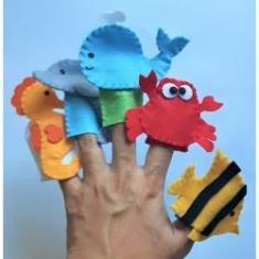 Imagem de Brinquedo Educativo Fantoche De Dedo - Dedoches Animais Marinhos