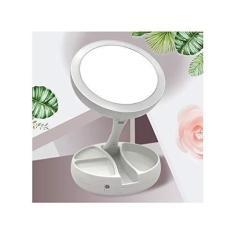 Imagem de Espelho Aumento 10X Dupla Face Luz Led Maquiagem Organizador